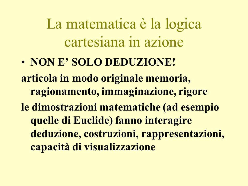 La matematica è la logica cartesiana in azione NON E SOLO DEDUZIONE! articola in modo originale memoria, ragionamento, immaginazione, rigore le dimost