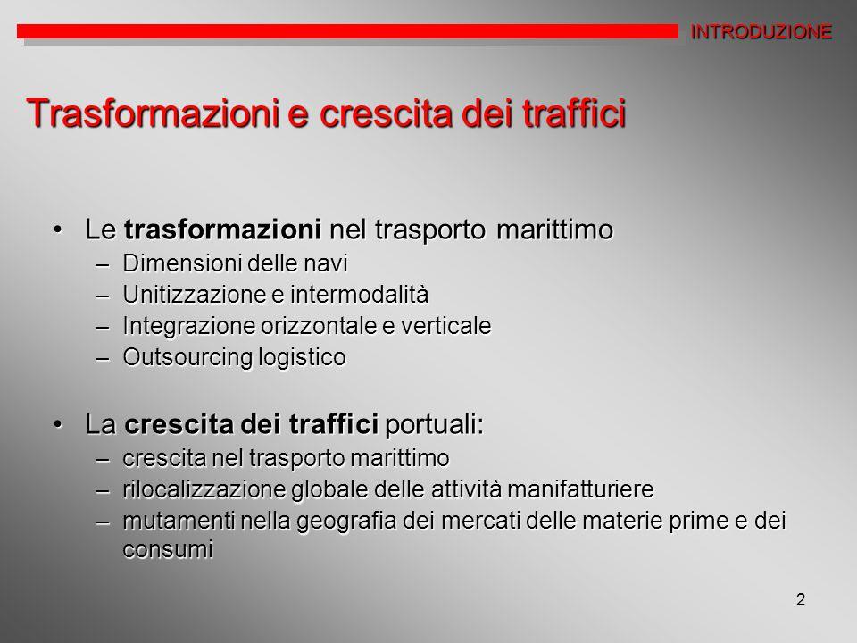 2 Trasformazioni e crescita dei traffici Le trasformazioni nel trasporto marittimoLe trasformazioni nel trasporto marittimo –Dimensioni delle navi –Un
