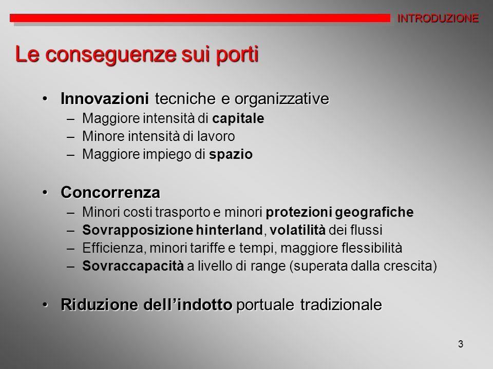 3 Le conseguenze sui porti Innovazioni tecniche e organizzativeInnovazioni tecniche e organizzative –Maggiore intensità di capitale –Minore intensità