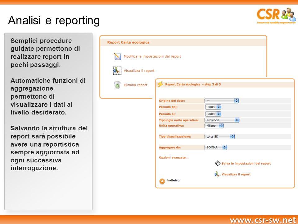 Analisi e reporting Semplici procedure guidate permettono di realizzare report in pochi passaggi. Automatiche funzioni di aggregazione permettono di v