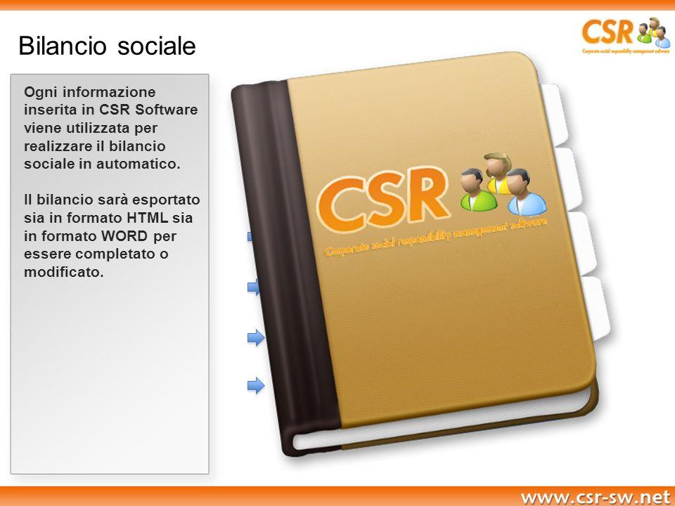 Bilancio sociale Ogni informazione inserita in CSR Software viene utilizzata per realizzare il bilancio sociale in automatico. Il bilancio sarà esport
