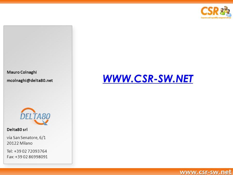 Mauro Colnaghi mcolnaghi@delta80.net Delta80 srl via San Senatore, 6/1 20122 Milano Tel: +39 02 72093764 Fax: +39 02 86998091 WWW.CSR-SW.NET