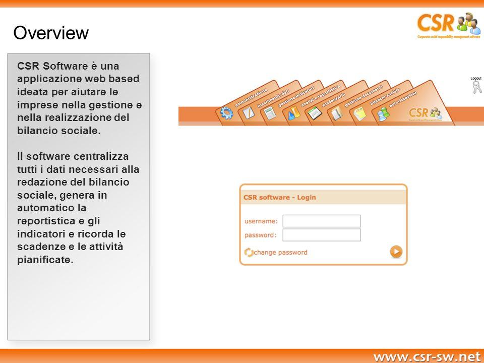 Overview CSR Software è una applicazione web based ideata per aiutare le imprese nella gestione e nella realizzazione del bilancio sociale. Il softwar