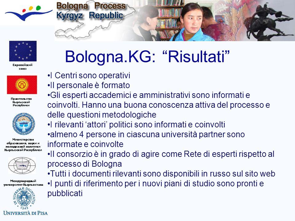 Bologna.KG: Risultati I Centri sono operativi Il personale è formato Gli esperti accademici e amministrativi sono informati e coinvolti. Hanno una buo