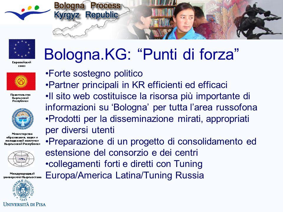 Bologna.KG: Punti di forza Forte sostegno politico Partner principali in KR efficienti ed efficaci Il sito web costituisce la risorsa più importante d