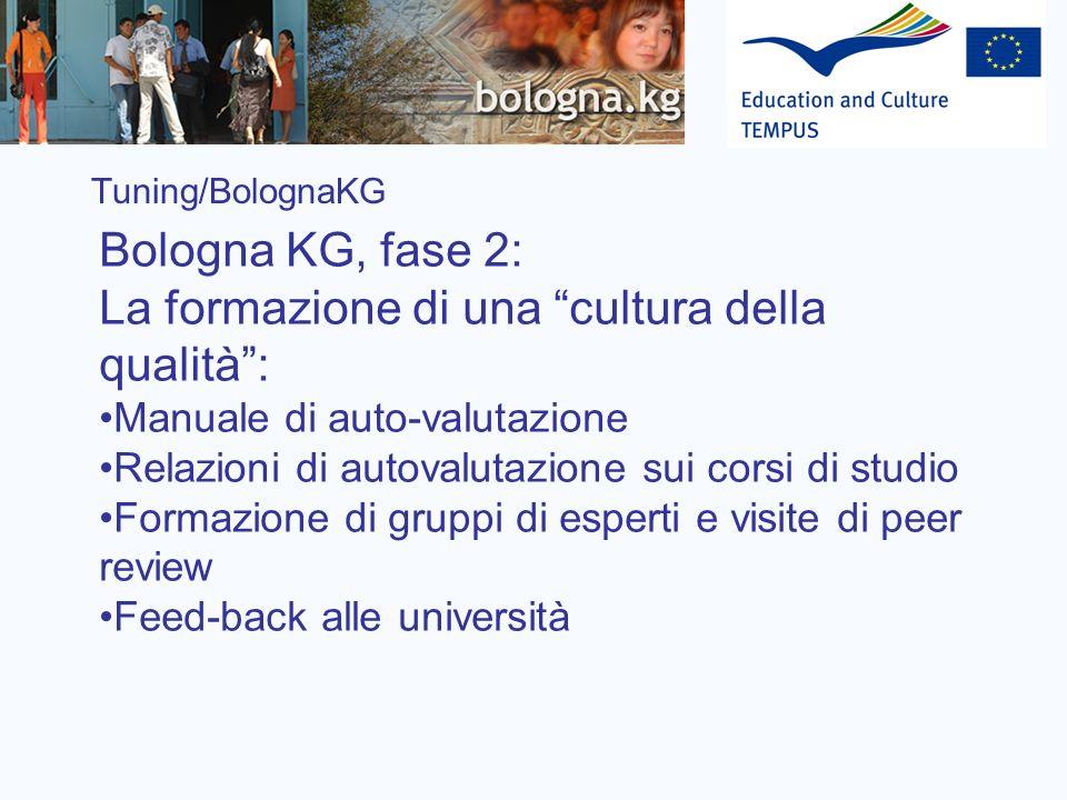 Tuning/BolognaKG Bologna KG, fase 2: La formazione di una cultura della qualità: Manuale di auto-valutazione Relazioni di autovalutazione sui corsi di