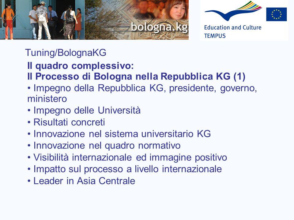 Tuning/BolognaKG Il quadro complessivo: Il Processo di Bologna nella Repubblica KG (1) Impegno della Repubblica KG, presidente, governo, ministero Imp