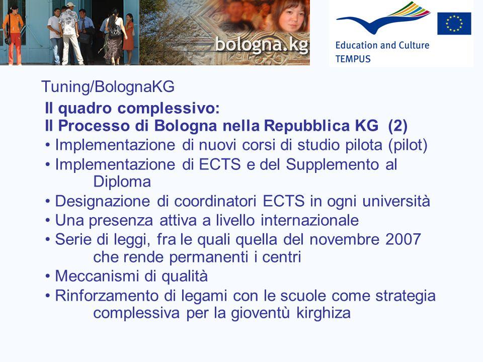 Tuning/BolognaKG Il quadro complessivo: Il Processo di Bologna nella Repubblica KG (2) Implementazione di nuovi corsi di studio pilota (pilot) Impleme