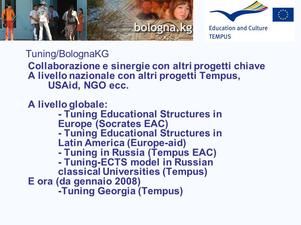 Tuning/BolognaKG Collaborazione e sinergie con altri progetti chiave A livello nazionale con altri progetti Tempus, USAid, NGO ecc. A livello globale: