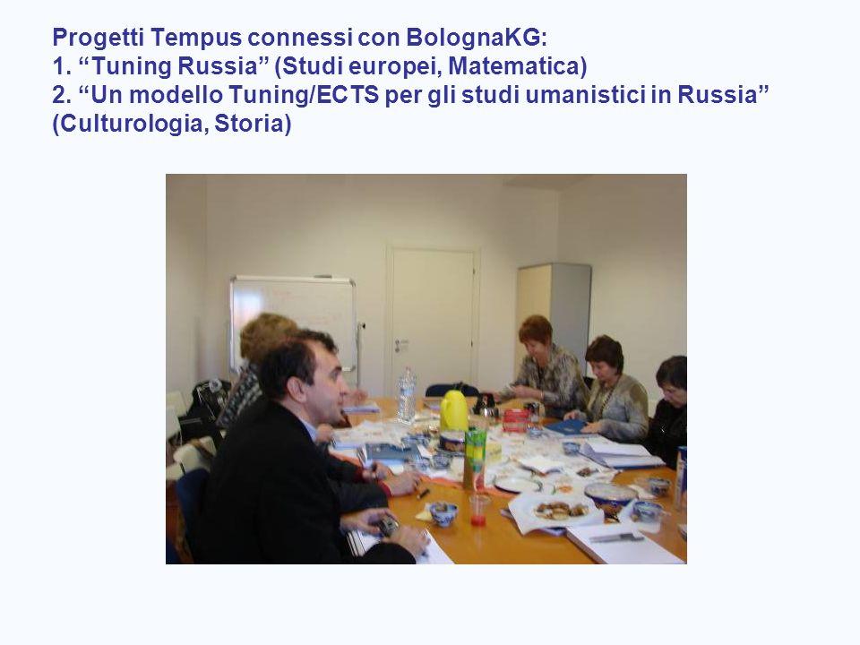 Progetti Tempus connessi con BolognaKG: 1. Tuning Russia (Studi europei, Matematica) 2. Un modello Tuning/ECTS per gli studi umanistici in Russia (Cul