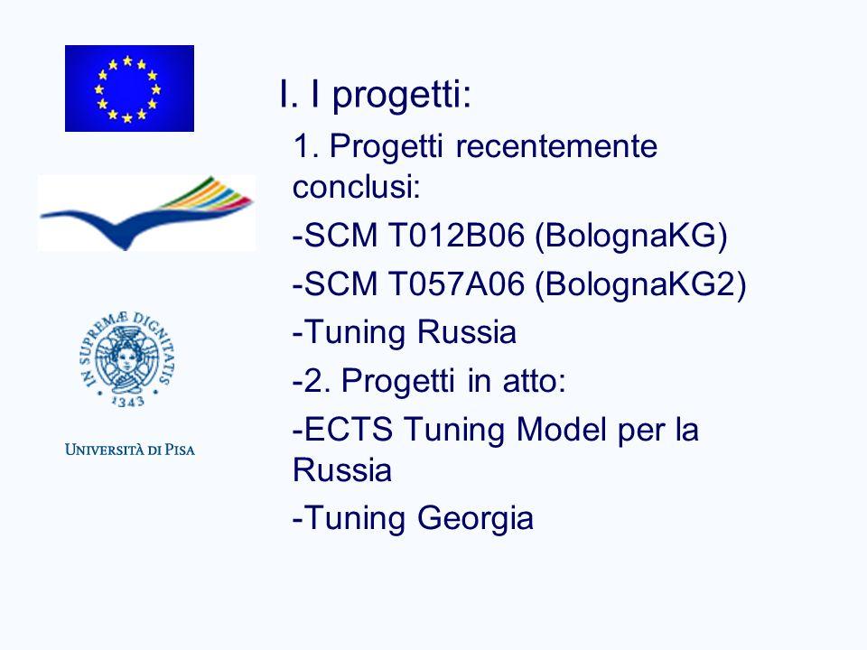 I. I progetti: 1. Progetti recentemente conclusi: -SCM T012B06 (BolognaKG) -SCM T057A06 (BolognaKG2) -Tuning Russia -2. Progetti in atto: -ECTS Tuning