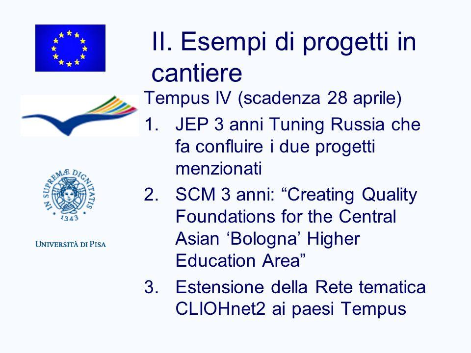 II. Esempi di progetti in cantiere Tempus IV (scadenza 28 aprile) 1.JEP 3 anni Tuning Russia che fa confluire i due progetti menzionati 2.SCM 3 anni: