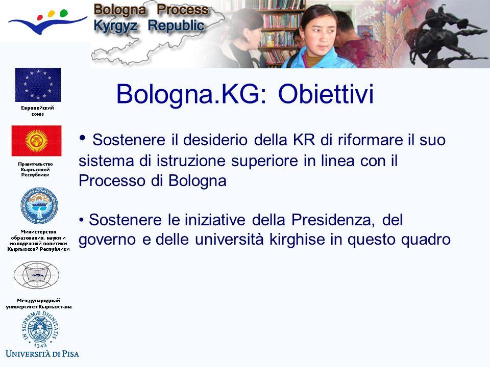 Bologna.KG: Obiettivi Sostenere il desiderio della KR di riformare il suo sistema di istruzione superiore in linea con il Processo di Bologna Sostener