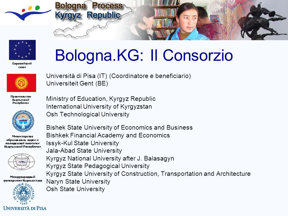 Tuning/BolognaKG Bologna KG, fase 2: Nuovi partners nel Consortium: 13 Università kirghize, più il Ministero dellIstruzione, Università di Pisa (coordinatore) e Gent Nuovi centri di informazione e disseminazione: Jalalabat, Karakol, Naryn, Talas Nuovi esperti e gruppi di sostegno