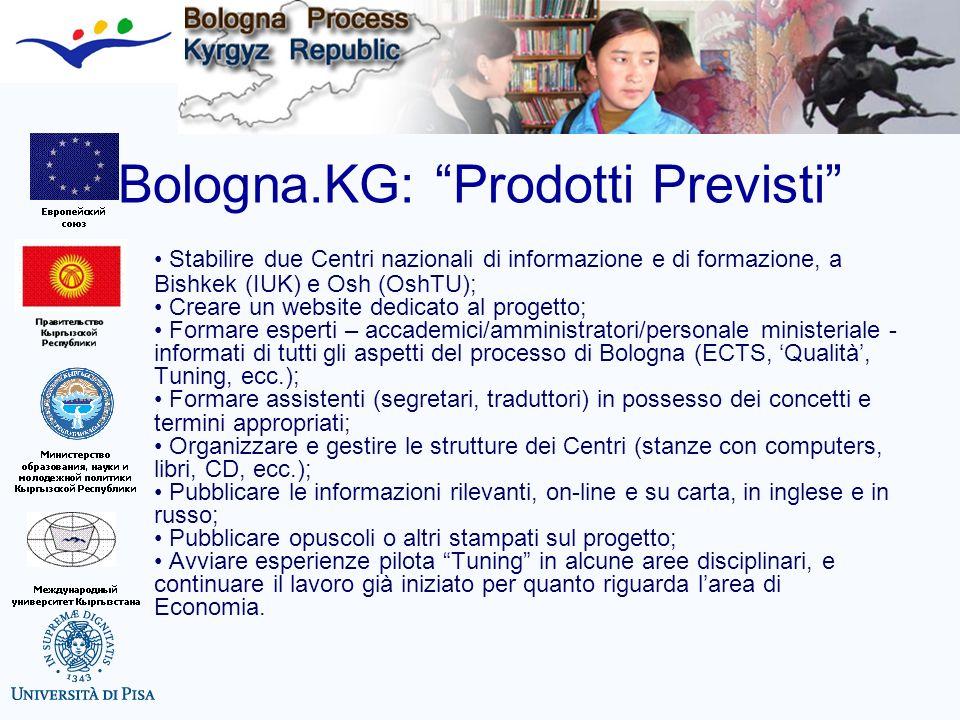 Bologna.KG: Prodotti Previsti Stabilire due Centri nazionali di informazione e di formazione, a Bishkek (IUK) e Osh (OshTU); Creare un website dedicat