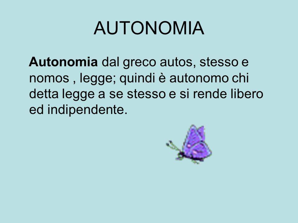 AUTONOMIA Autonomia dal greco autos, stesso e nomos, legge; quindi è autonomo chi detta legge a se stesso e si rende libero ed indipendente.