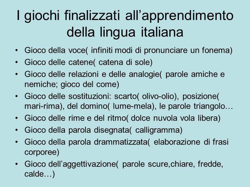 I giochi finalizzati allapprendimento della lingua italiana Gioco della voce( infiniti modi di pronunciare un fonema) Gioco delle catene( catena di so