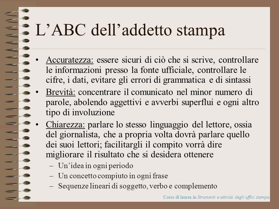 LABC delladdetto stampa Accuratezza: essere sicuri di ciò che si scrive, controllare le informazioni presso la fonte ufficiale, controllare le cifre,