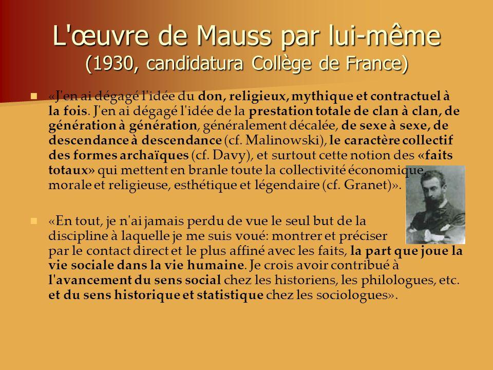 L'œuvre de Mauss par lui-même (1930, candidatura Collège de France) «J'en ai dégagé l'idée du don, religieux, mythique et contractuel à la fois. J'en