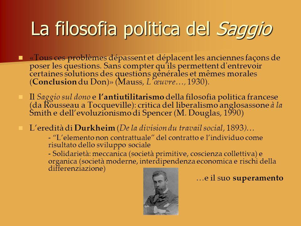 La filosofia politica del Saggio «Tous ces problèmes dépassent et déplacent les anciennes façons de poser les questions. Sans compter qu'ils permetten
