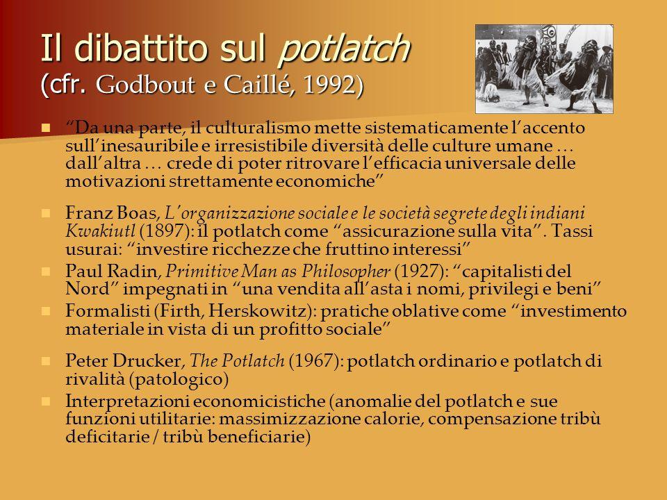 Il dibattito sul potlatch (cfr. Godbout e Caillé, 1992) Da una parte, il culturalismo mette sistematicamente laccento sullinesauribile e irresistibile