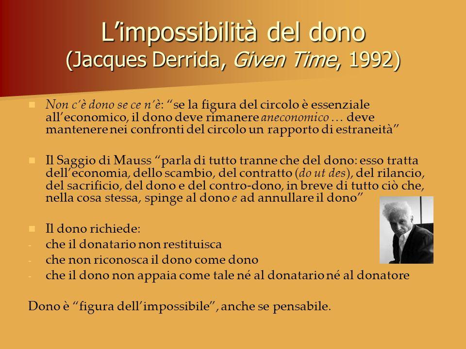 Limpossibilità del dono (Jacques Derrida, Given Time, 1992) Non cè dono se ce nè: se la figura del circolo è essenziale alleconomico, il dono deve rim