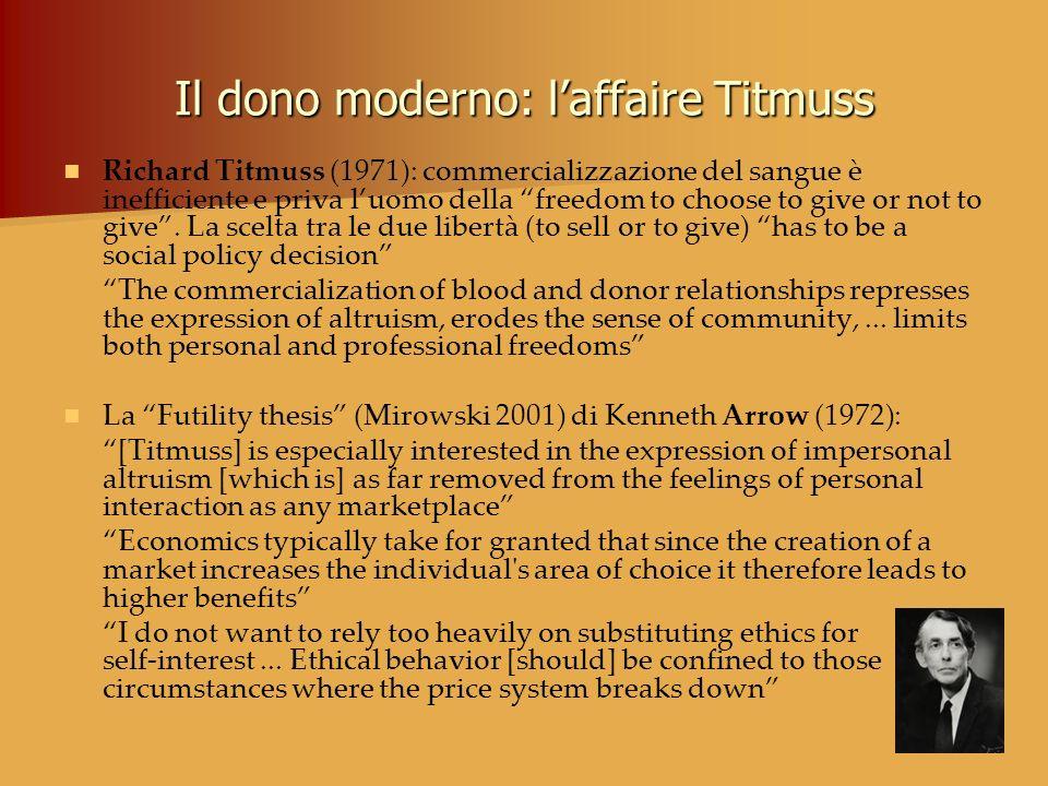Il dono moderno: laffaire Titmuss Richard Titmuss (1971): commercializzazione del sangue è inefficiente e priva luomo della freedom to choose to give