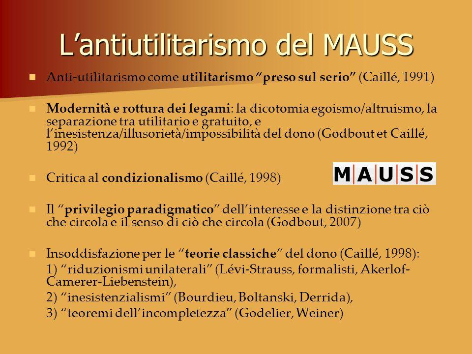Lantiutilitarismo del MAUSS Anti-utilitarismo come utilitarismo preso sul serio (Caillé, 1991) Modernità e rottura dei legami: la dicotomia egoismo/al