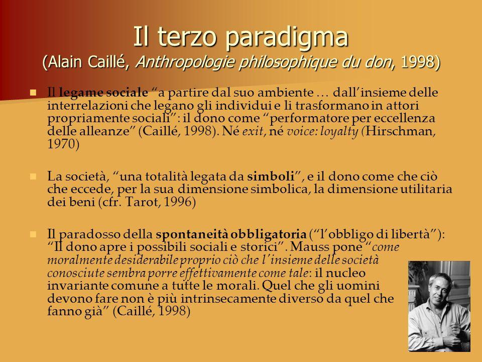 Il terzo paradigma (Alain Caillé, Anthropologie philosophique du don, 1998) Il legame sociale a partire dal suo ambiente … dallinsieme delle interrela