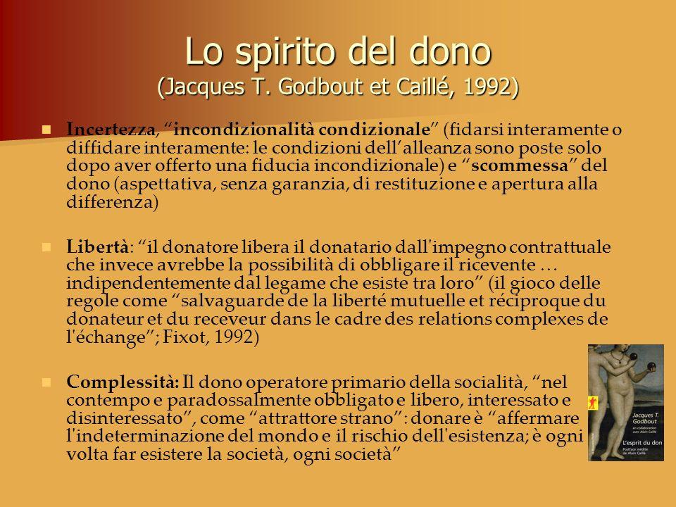 Lo spirito del dono (Jacques T. Godbout et Caillé, 1992) Incertezza, incondizionalità condizionale (fidarsi interamente o diffidare interamente: le co
