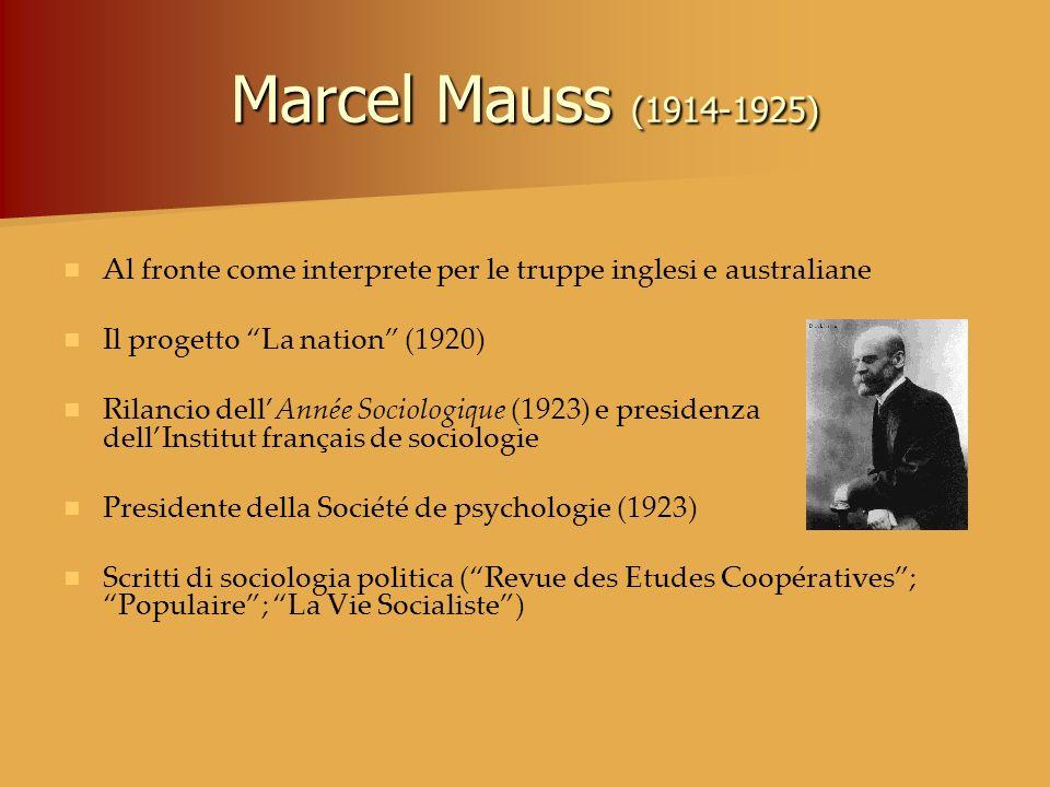Marcel Mauss (1914-1925) Al fronte come interprete per le truppe inglesi e australiane Il progetto La nation (1920) Rilancio dellAnnée Sociologique (1