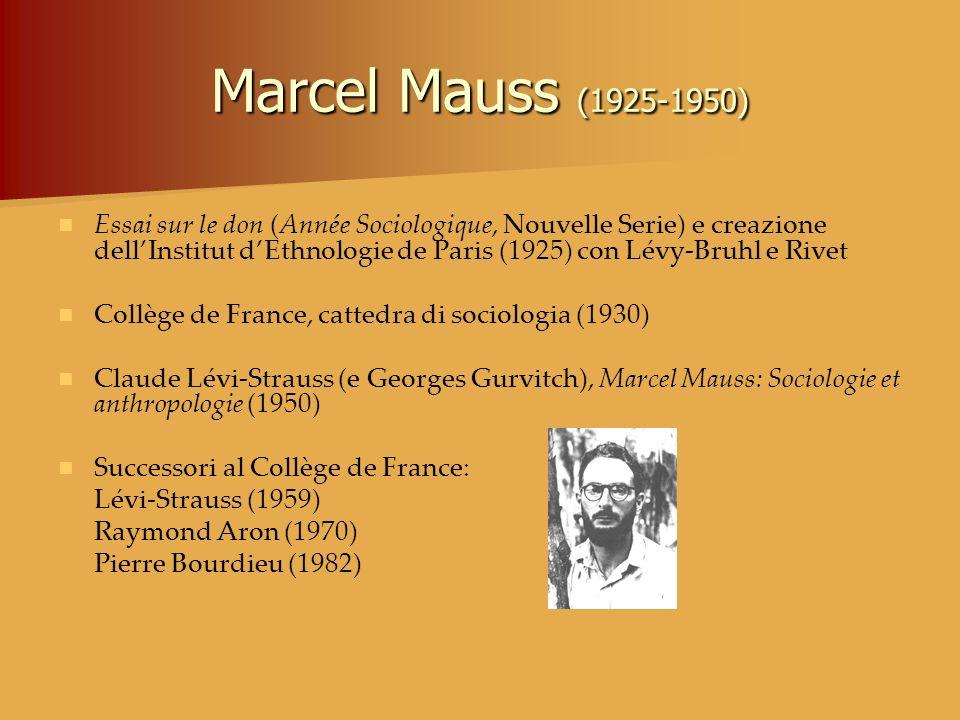 Marcel Mauss (1925-1950) Essai sur le don (Année Sociologique, Nouvelle Serie) e creazione dellInstitut dEthnologie de Paris (1925) con Lévy-Bruhl e R
