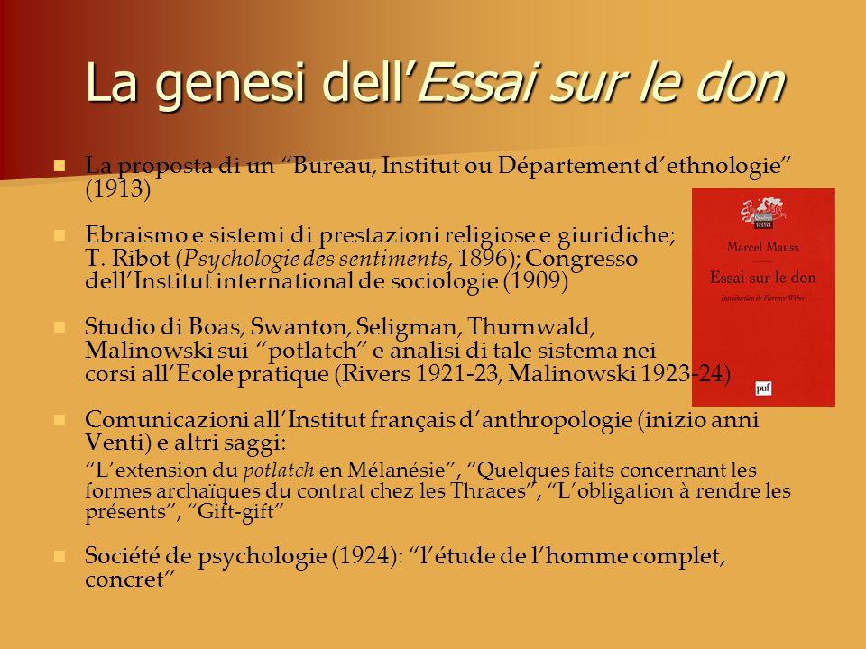 La genesi dellEssai sur le don La proposta di un Bureau, Institut ou Département dethnologie (1913) Ebraismo e sistemi di prestazioni religiose e giur