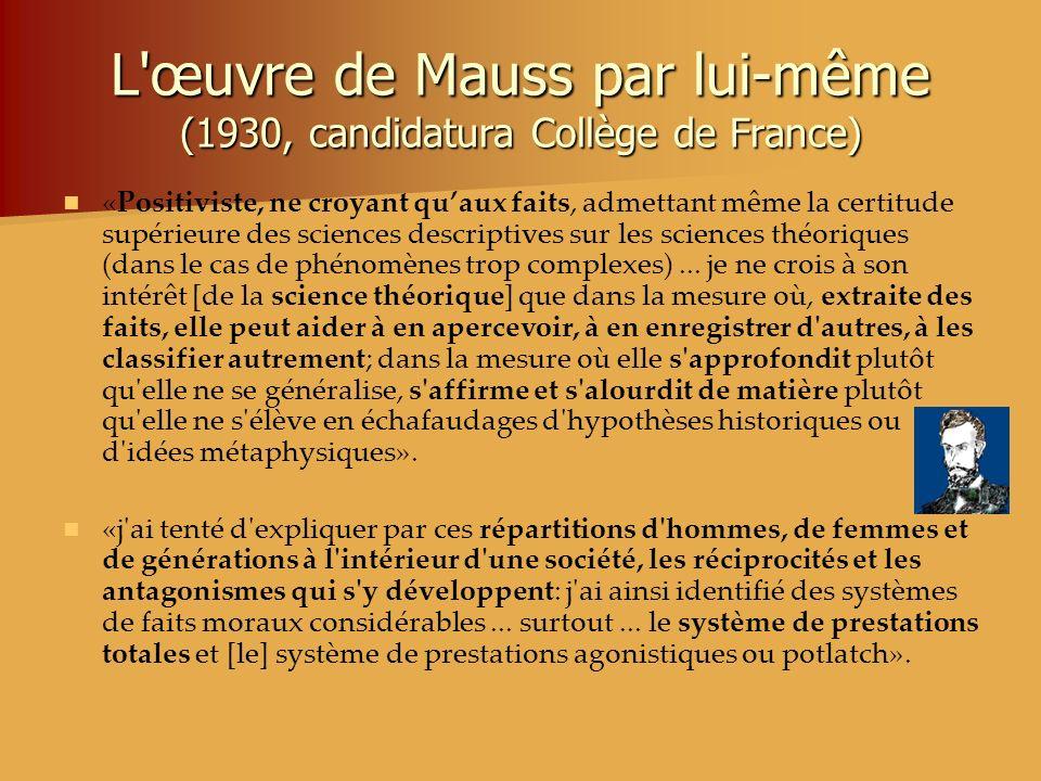 L'œuvre de Mauss par lui-même (1930, candidatura Collège de France) «Positiviste, ne croyant quaux faits, admettant même la certitude supérieure des s