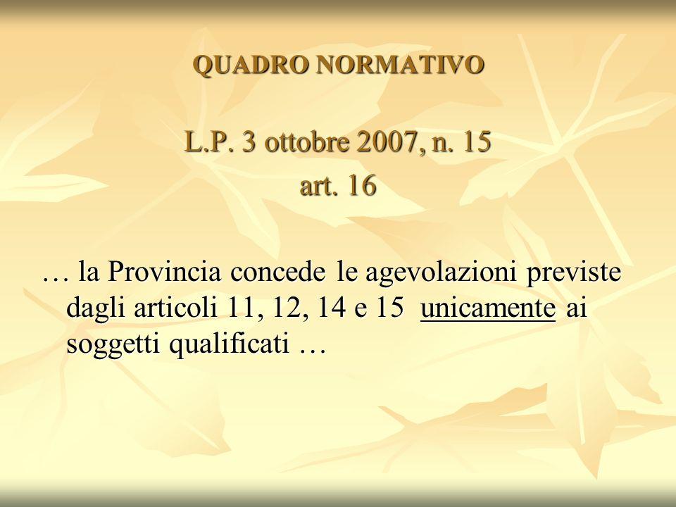 QUADRO NORMATIVO L.P. 3 ottobre 2007, n. 15 art. 16 … la Provincia concede le agevolazioni previste dagli articoli 11, 12, 14 e 15 unicamente ai sogge
