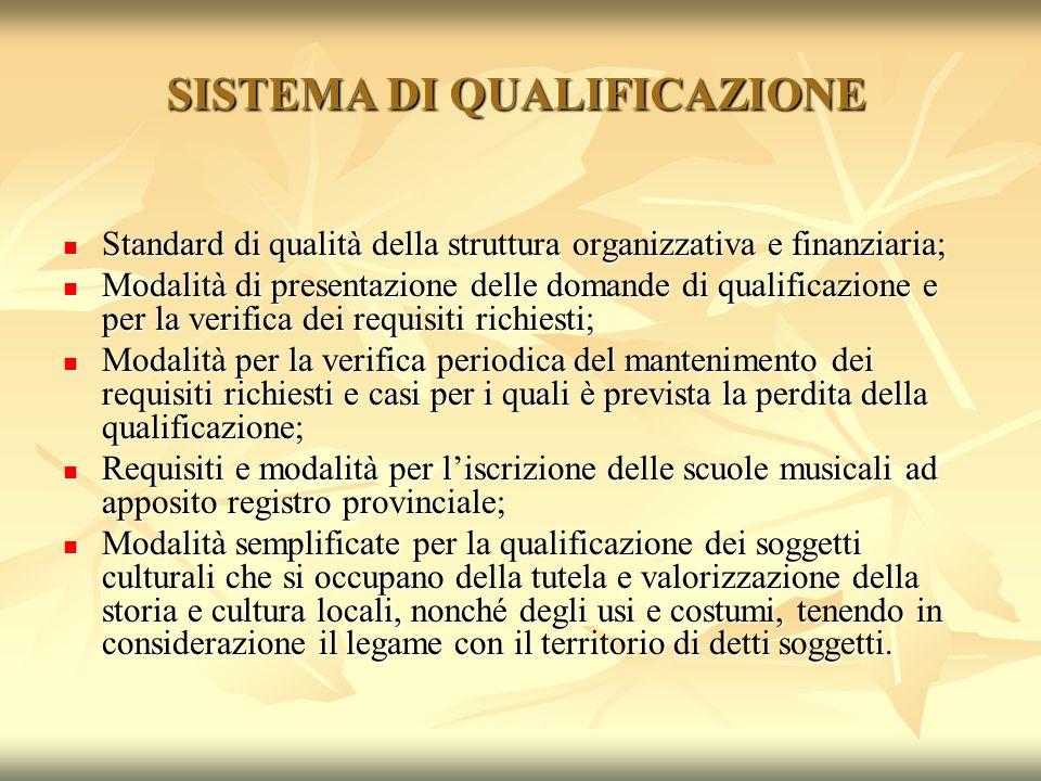 SISTEMA DI QUALIFICAZIONE Standard di qualità della struttura organizzativa e finanziaria; Standard di qualità della struttura organizzativa e finanzi