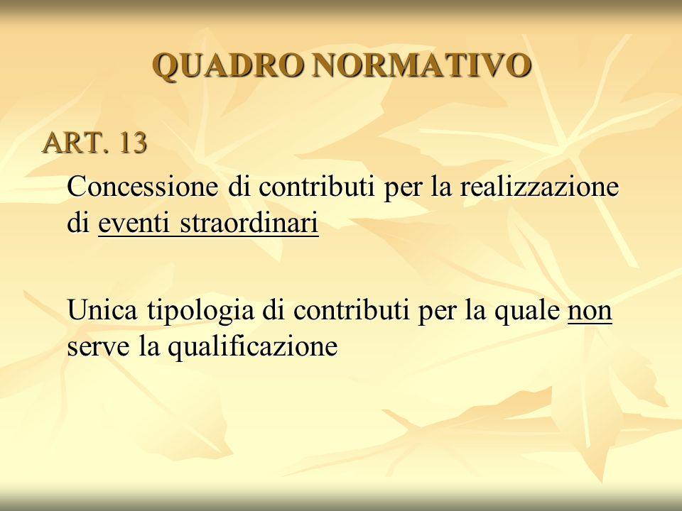 QUADRO NORMATIVO ART. 13 Concessione di contributi per la realizzazione di eventi straordinari Unica tipologia di contributi per la quale non serve la