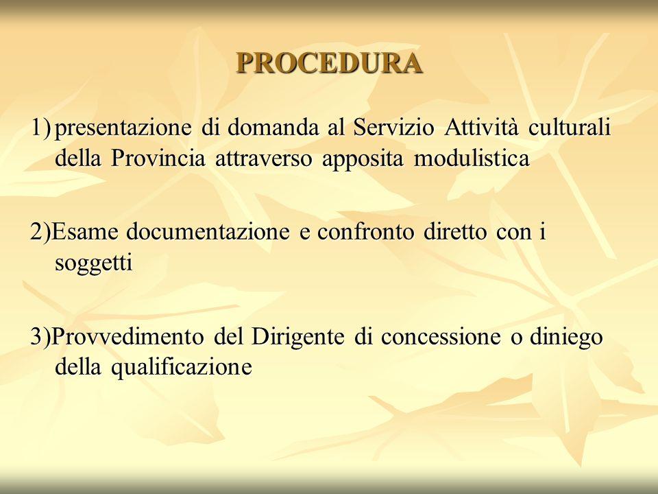 PROCEDURA 1)presentazione di domanda al Servizio Attività culturali della Provincia attraverso apposita modulistica 2)Esame documentazione e confronto