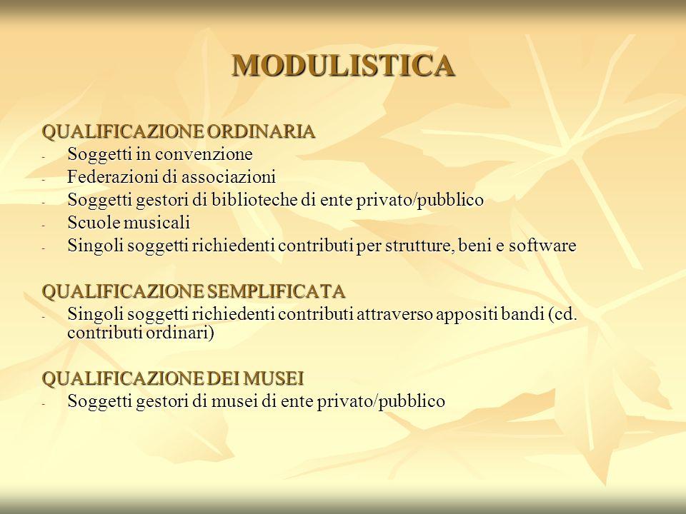 MODULISTICA QUALIFICAZIONE ORDINARIA - Soggetti in convenzione - Federazioni di associazioni - Soggetti gestori di biblioteche di ente privato/pubblic