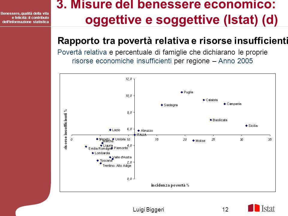 Benessere, qualità della vita e felicità: il contributo dellinformazione statistica Luigi Biggeri12 3. Misure del benessere economico: oggettive e sog
