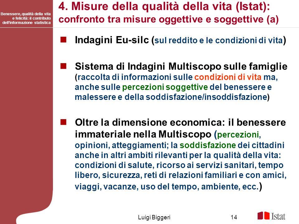 Benessere, qualità della vita e felicità: il contributo dellinformazione statistica Luigi Biggeri14 4. Misure della qualità della vita (Istat): confro