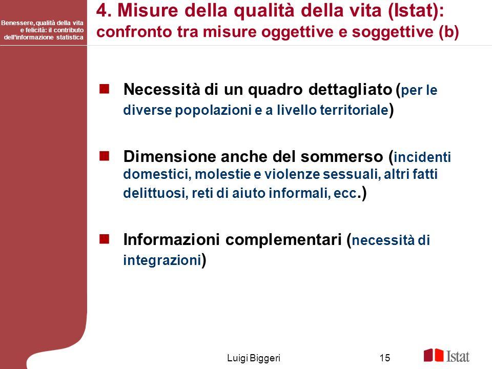 Benessere, qualità della vita e felicità: il contributo dellinformazione statistica Luigi Biggeri15 4. Misure della qualità della vita (Istat): confro