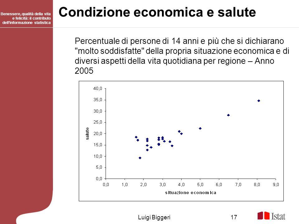 Benessere, qualità della vita e felicità: il contributo dellinformazione statistica Luigi Biggeri17 Condizione economica e salute Percentuale di perso