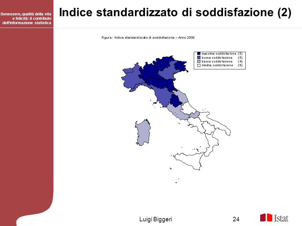 Benessere, qualità della vita e felicità: il contributo dellinformazione statistica Luigi Biggeri24 Indice standardizzato di soddisfazione (2)