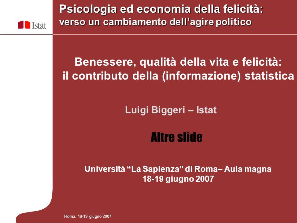 Benessere, qualità della vita e felicità: il contributo della (informazione) statistica Università La Sapienza di Roma– Aula magna 18-19 giugno 2007 R