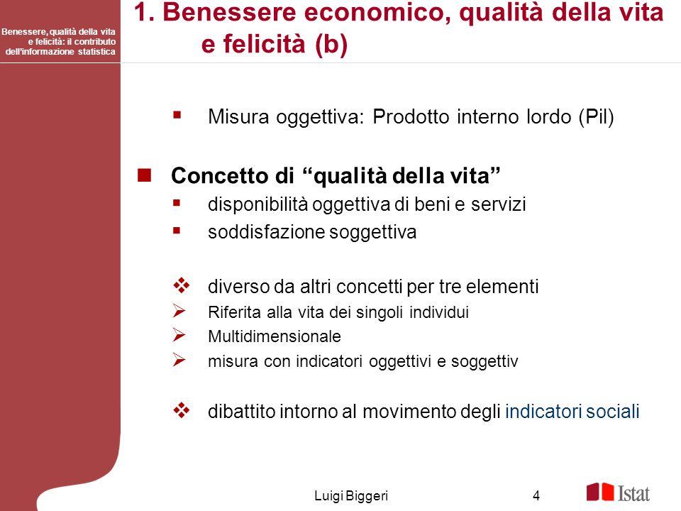 Benessere, qualità della vita e felicità: il contributo dellinformazione statistica Luigi Biggeri4 1. Benessere economico, qualità della vita e felici