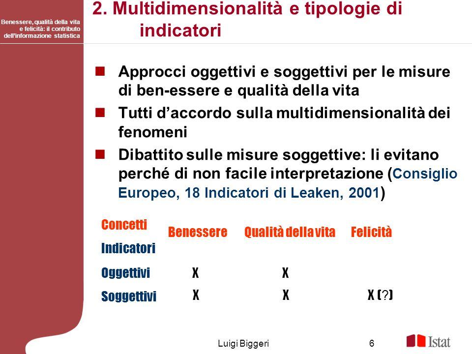 Benessere, qualità della vita e felicità: il contributo dellinformazione statistica Luigi Biggeri6 2. Multidimensionalità e tipologie di indicatori Ap