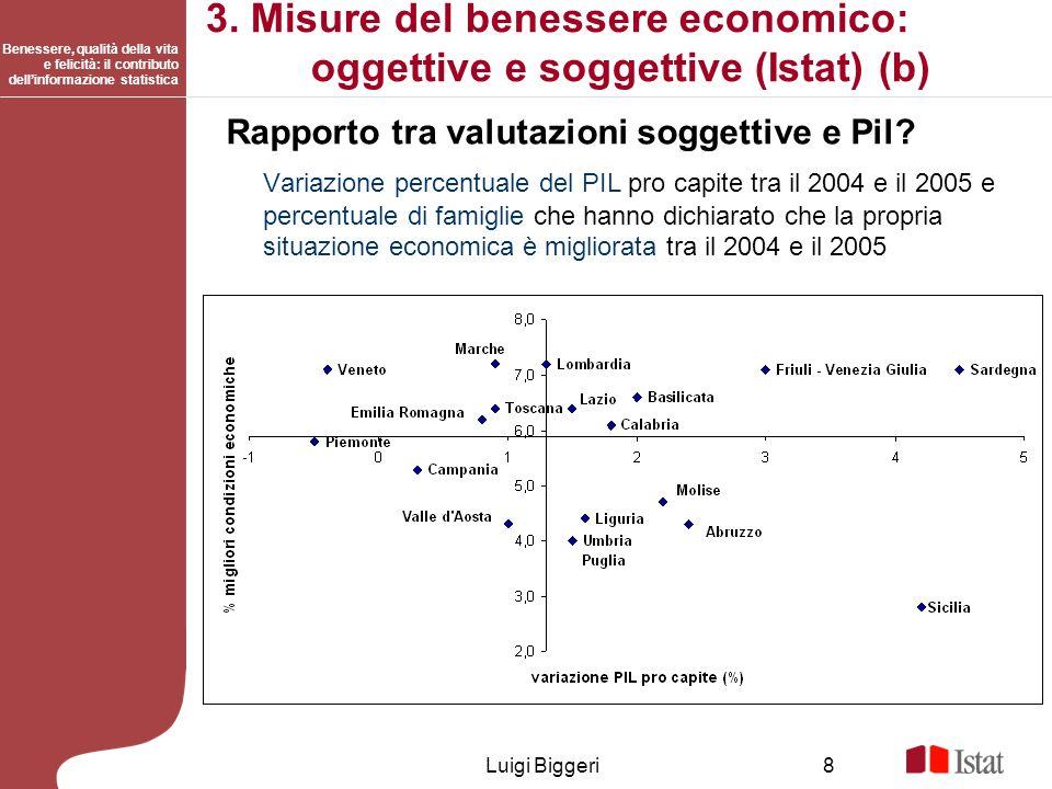 Benessere, qualità della vita e felicità: il contributo dellinformazione statistica Luigi Biggeri8 3. Misure del benessere economico: oggettive e sogg