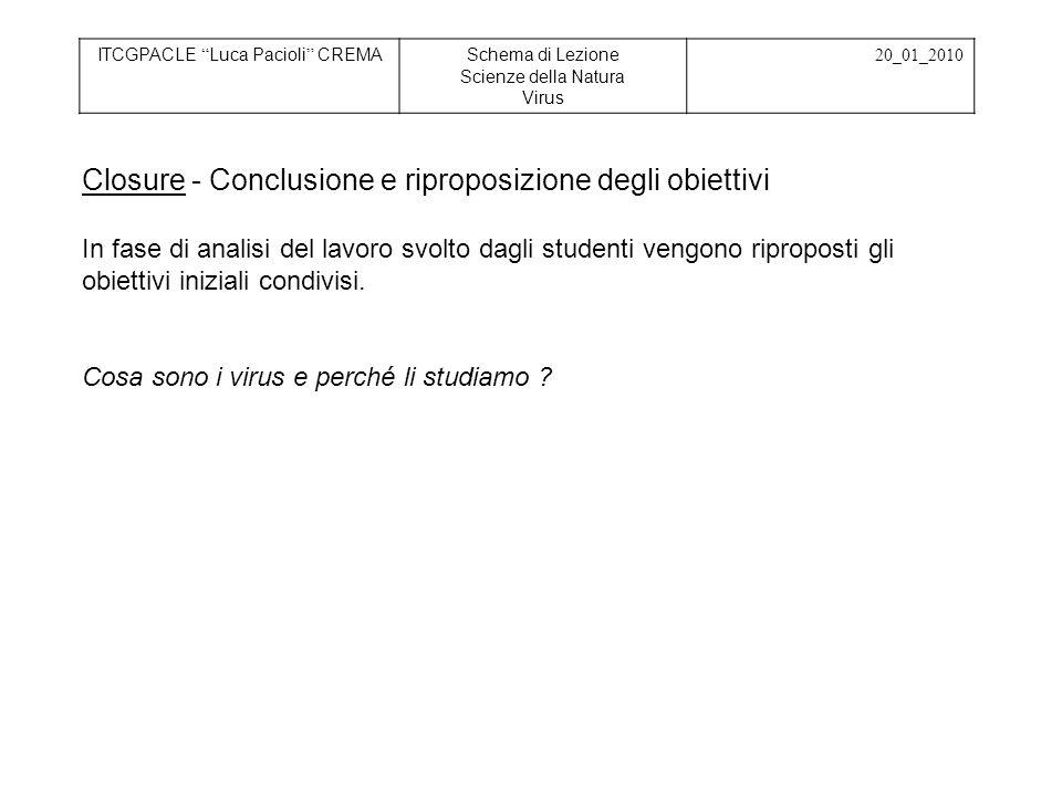 ITCGPACLE Luca Pacioli CREMASchema di Lezione Scienze della Natura Virus 20_01_2010 Closure - Conclusione e riproposizione degli obiettivi In fase di