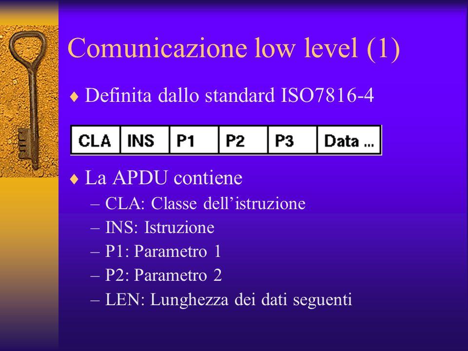 Comunicazione low level (1) Definita dallo standard ISO7816-4 La APDU contiene –CLA: Classe dellistruzione –INS: Istruzione –P1: Parametro 1 –P2: Parametro 2 –LEN: Lunghezza dei dati seguenti